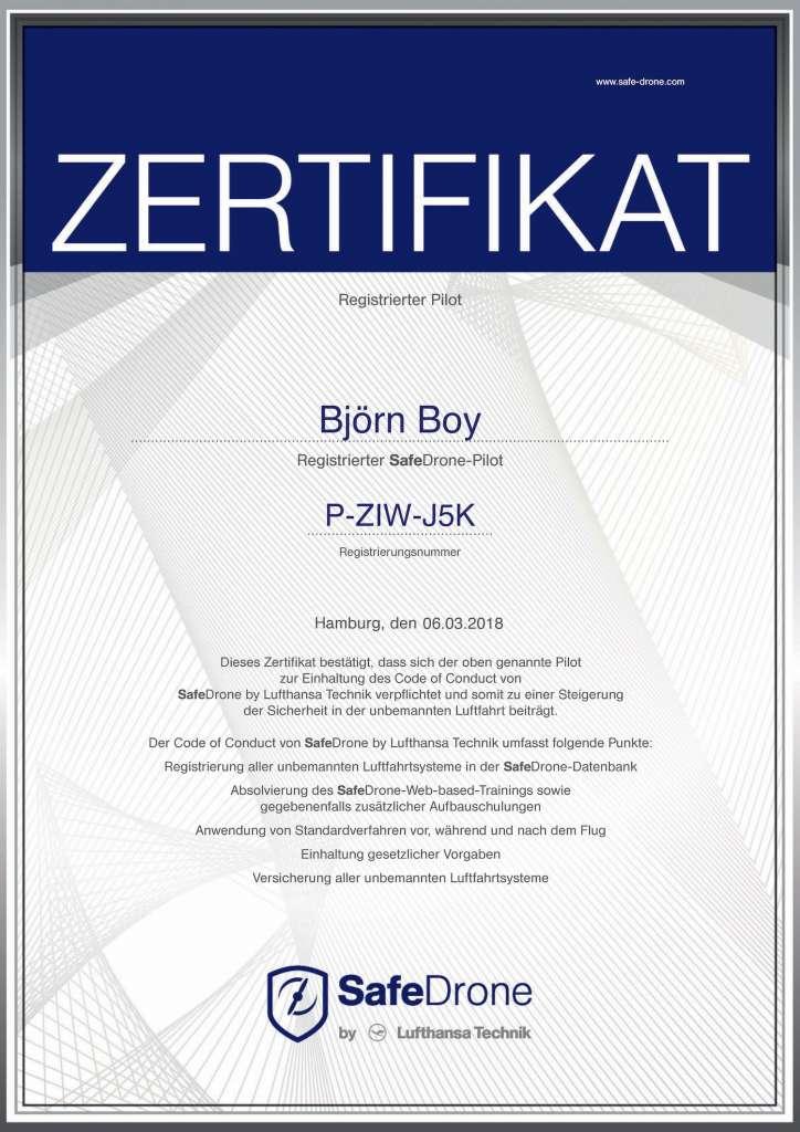 Zertifikat Safe Drone BOY